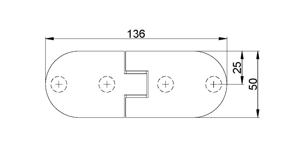 technische Zeichnung glastür scharnier für dusche mit außenöffnung 180° ART. 700B 700-serie