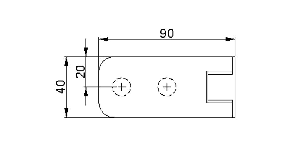 technische Zeichnung glastür scharnier für dusche mit außenöffnung 90° ART. 801A 800-serie