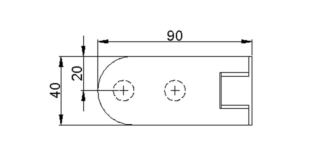 technische Zeichnung glastür scharnier für dusche mit außenöffnung 90° ART. 801B 800-serie
