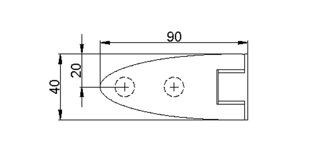 technische Zeichnung glastür scharnier für dusche mit außenöffnung 90° ART. 801D 800-serie