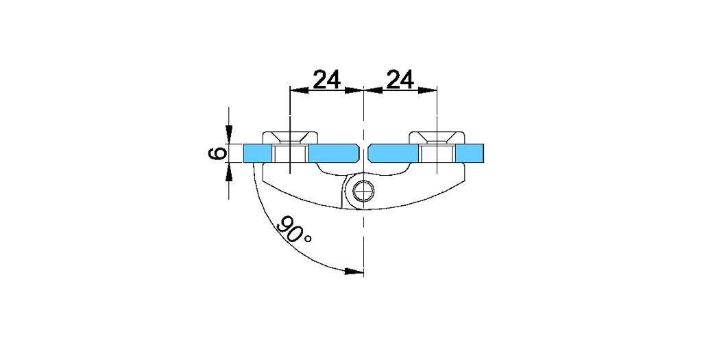 technische Zeichnung glastür scharnier für dusche mit außenöffnung 90° ART. B1 boston-serie