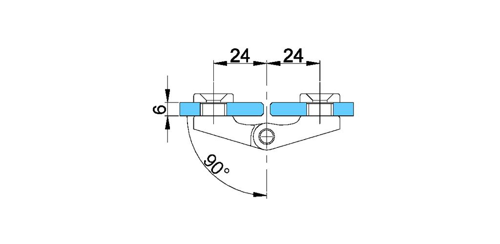 technische Zeichnung glastür scharnier für dusche mit außenöffnung 90° ART. B2 boston-serie