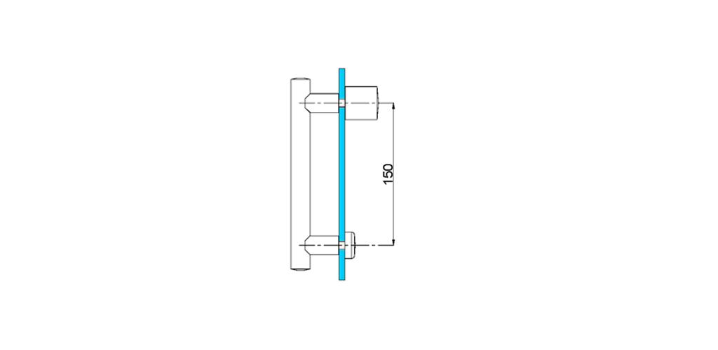 technische Zeichnung türgriffe ART. L7 lybra-serie