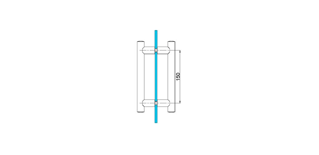 technische Zeichnung türgriffe ART. L8 lybra-serie