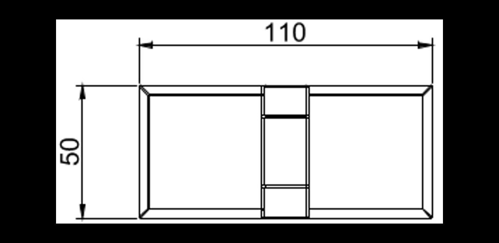 technische Zeichnung glastür scharnier für dusche mit 360° öffnung, 180° nach innen und aussen ART. C0285 b-fold-serie